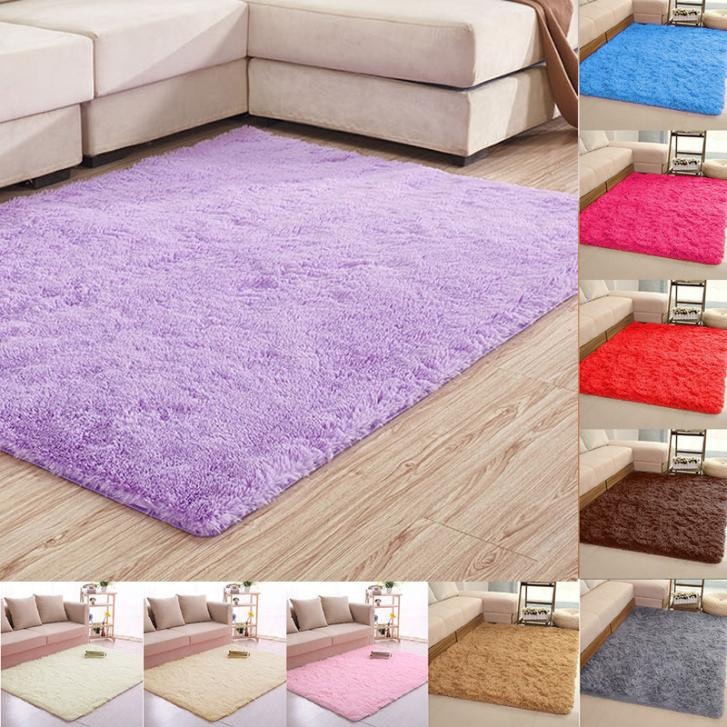 TING QI Large Size Fluffy Rugs Anti-Skid Shaggy Area Rug Dining Room Carpet Floor Mat Home Bedroom Home Supplies