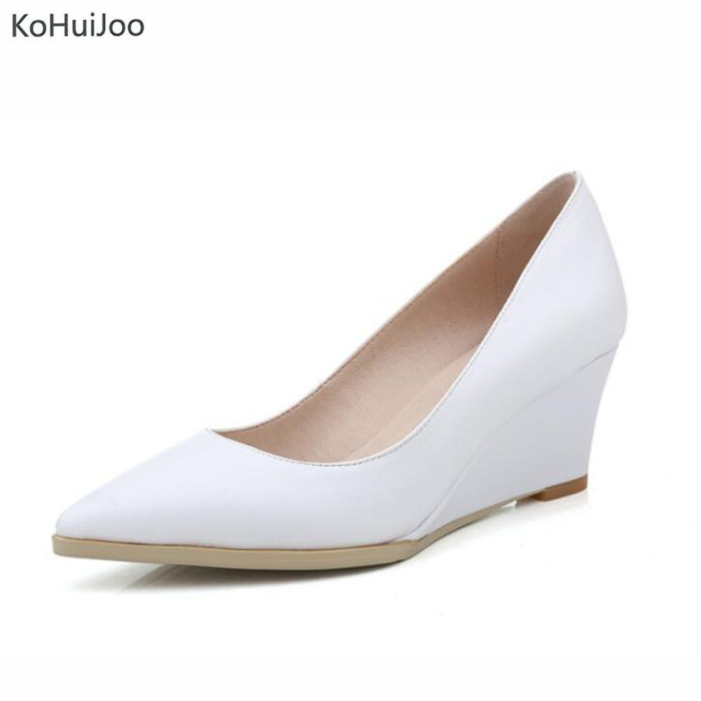 KoHuiJoo Spring Autumn Women Genuine Leather Pumps Female Shallow Shoes Black White Beige Ladies Elegant Party Wedges Work Wear genuine cow leather female women s 10cm heels pumps round toes black beige quality female pr354 wedding party work pumps shoe