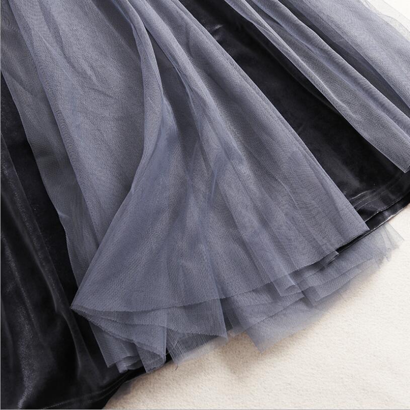 Blue Elastische Jupe Lange Plissee Netz Grau Runaway Taille Rock burgunder Elegante Frauen Neue Grey Femme Farbe Feste Blau amp; Samt TZORqx0
