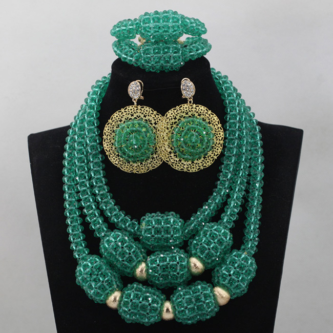 Teal African Beads Chunky Jewelry Set Bold Statement Crystal