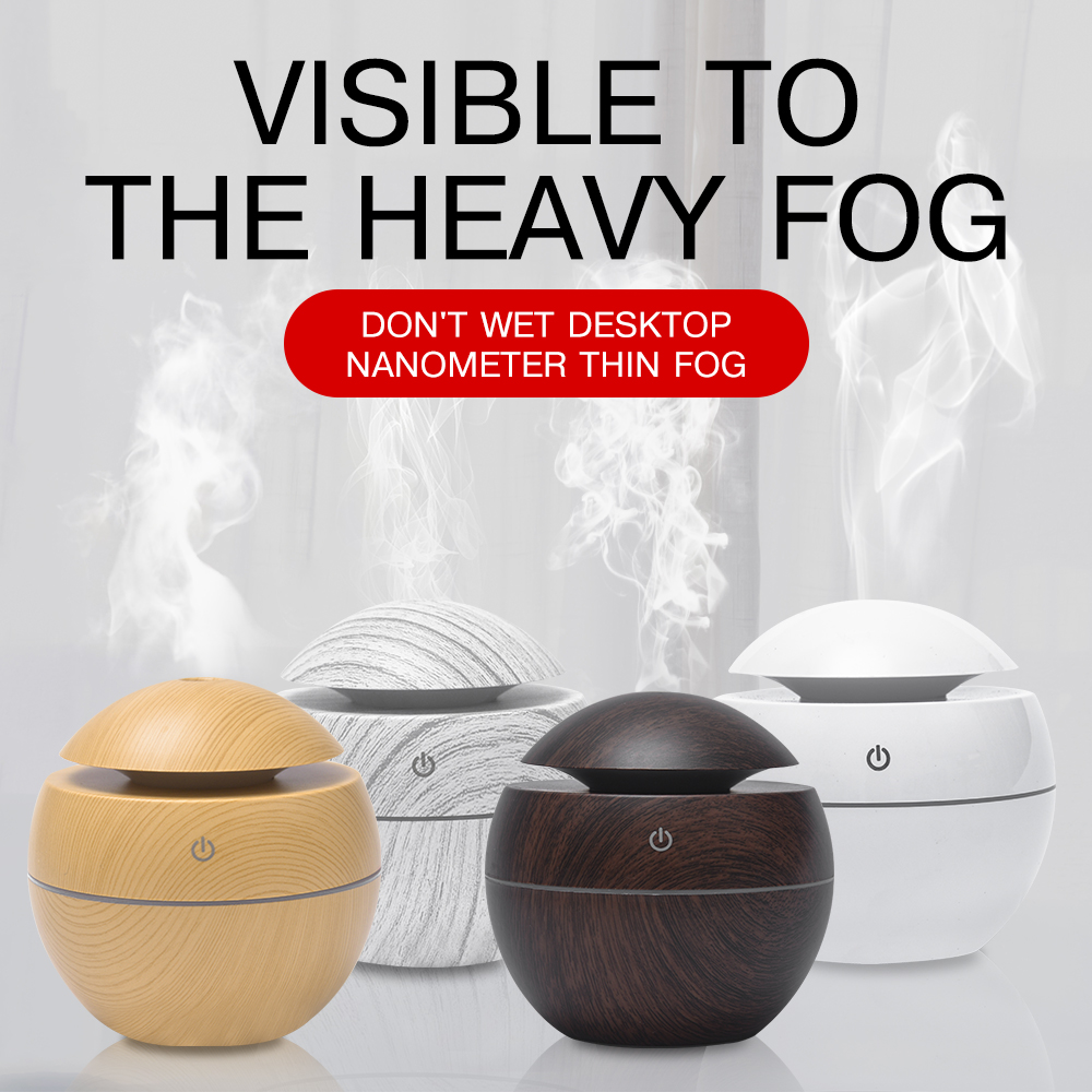 Ultrasonic Wood Grain USB Air Humidifier Aroma Essential Oil Diffuser Purifier With LED Light