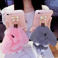 Girls lovely cute cartoon plush fur furry rabbit phone skin shield case protection shell holder cover for iPhone 6 6s 7 plus