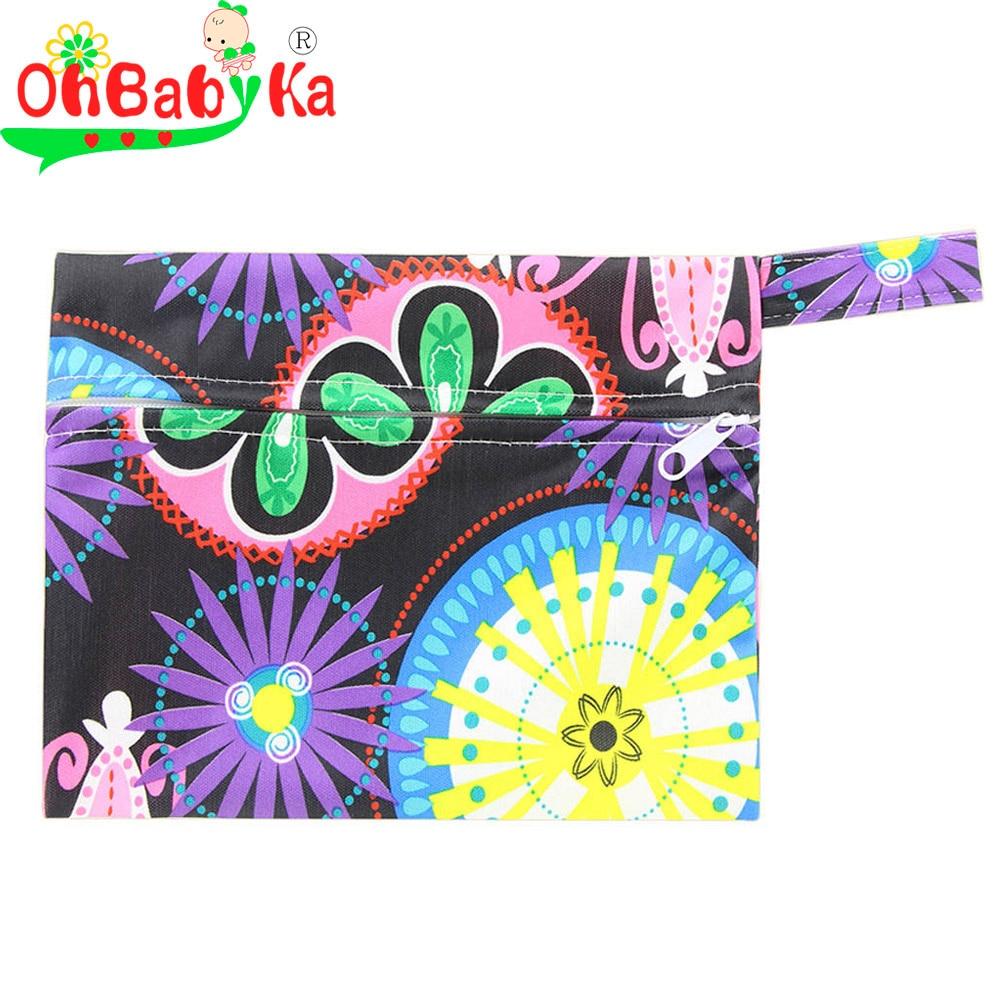 Ohbabyka PUL Waterproof Wet Dry Bag Reusable Menstrual Pads Nursing Pads Wet Bag for Mom Stroller Travel Baby Nappy Bag 18*14cm