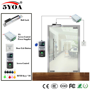 Image 2 - Fingerprint RFID Access Control System Kit Wooden Glasses Door Set+Magnetic Lock+ID Card Keytab+Power Supplier+Button