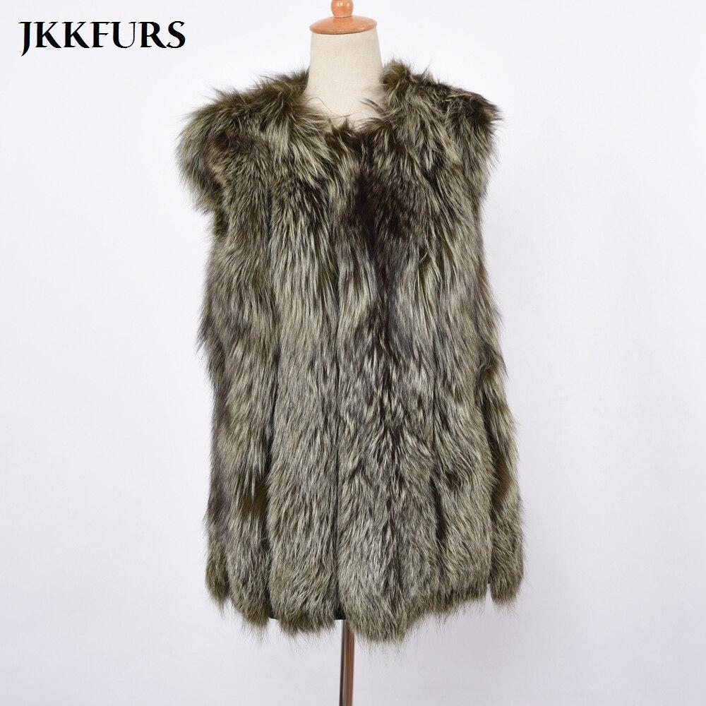 Gilet Fourrure Chaud S7360 Manteaux Véritable De Green Silver Nouvelles Naturel Mode Fox Hiver Femmes Khaki Luxe Dame qtH67I