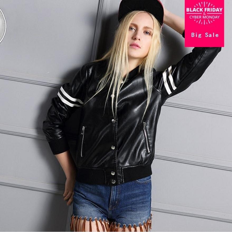À navy Automne Court Qualité Dames En Street 2017 Bonne pink De Wj1191 Mode Pu Marque Veste Style Rayures Cuir Black Zipper HwfZqdY