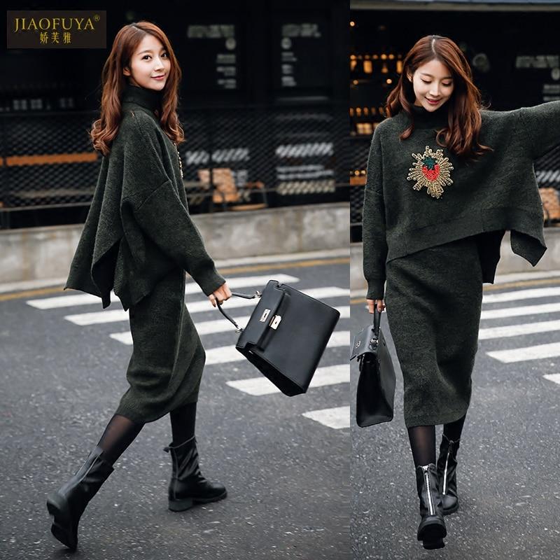 Le Costume Manteau D'hiver Taille Pull Robe Deux 2018 Lâche vert Avec Fraise Polo Femmes Brown gris Pièces Diamant Et Col XqwXrz4
