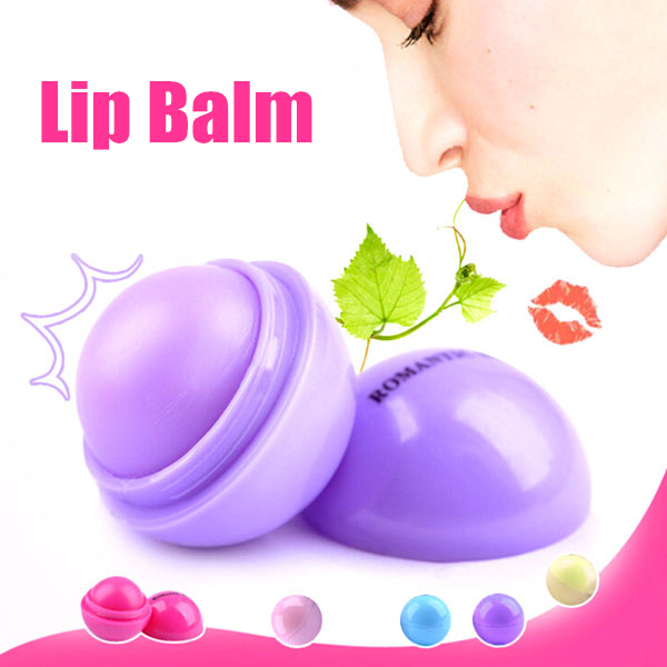New Makeup Round candy color Moisturizing lip balm Natural Plant Sphere lip gloss Lipstick Fruit Embellish lip smacker 131-0216