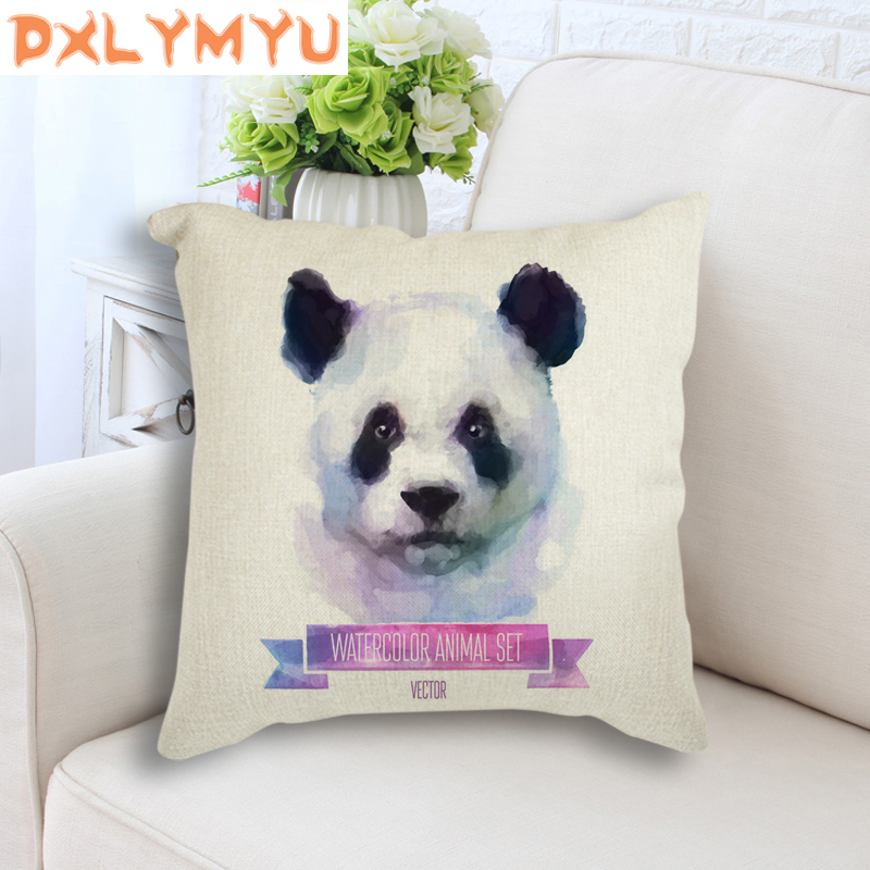 Panda Tiger Wolf Cat Cushion Cover Watercolor Animal Throw Pillowcase 45X45cm Linen Cotton Pillow Case For Home Decor