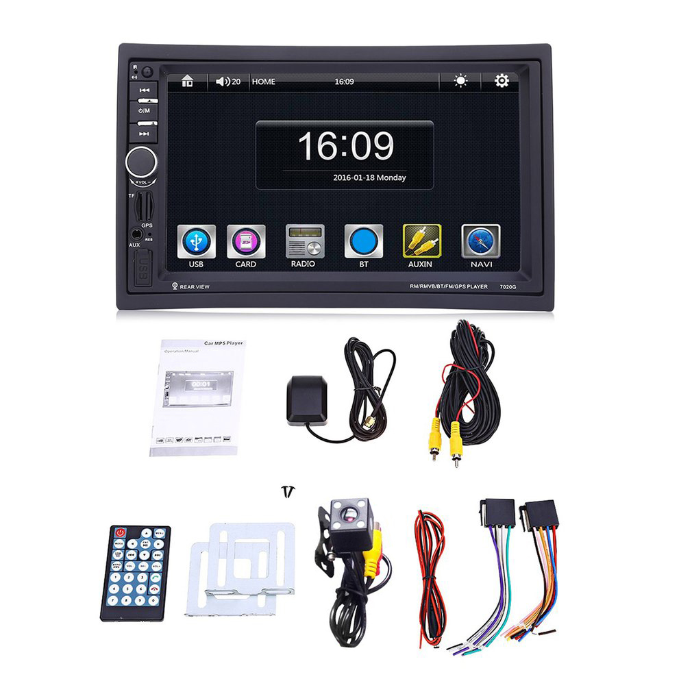 Hot 7'' Car Radio MP5 Player 1080 Digital HD Touch Screen 2 Din Bluetooth GPS Navigation with Rear View Camera Mutimedia Player 7020g 2 din 7 inch car mp5 player bluetooth hd touch screen with gps navigation rear view camera auto fm radio autoradio ios