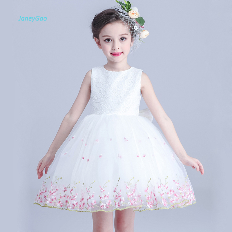 JaneyGao   Flower     Girl     Dresses   For Wedding Party Little   Girl   Princess Formal Gown 2018 New White Kids Dinner Prom   Dress   In Stock
