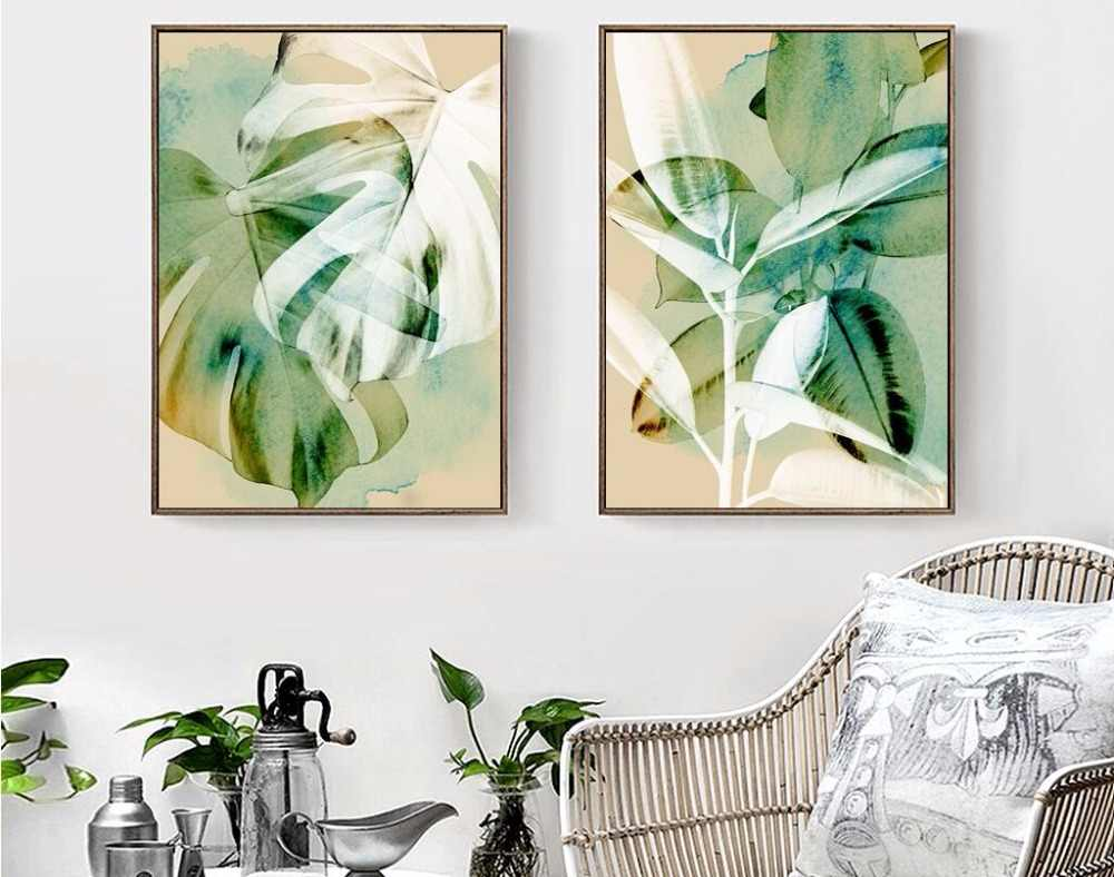 Watercolor Nordic tropical plant leaves Art Canvas Poster Painting Modern Wall Picture Home Decoration 894