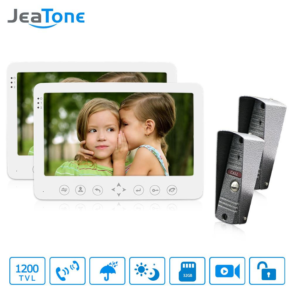 JeaTone 7 LCD 2 IR Night Cameras+ 2 Touch Button Monitors Video Door Phone Intercom Doorbell Home Security System WaterproofJeaTone 7 LCD 2 IR Night Cameras+ 2 Touch Button Monitors Video Door Phone Intercom Doorbell Home Security System Waterproof
