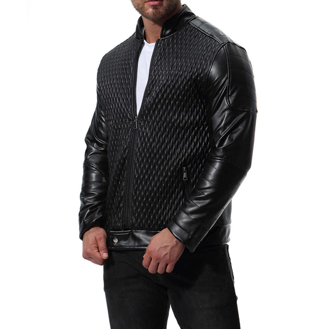 AKSR 男性のファッションカジュアル革ジャケット長袖無地秋と冬のアウトップス