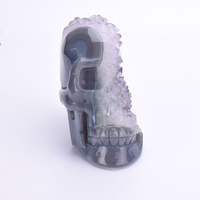 5.2'' Geode Agate Skull Carved Crystal Healing Skull Figurine Stones and Crystals Statue Skull Unique Sculpture Home Decor