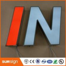 Передний освещенный светодиодный канальный буквенный знак из нержавеющей стали для магазина