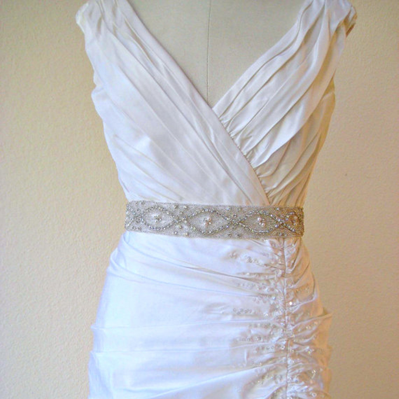 Online buy wholesale rhinestone bridal belts from china for Wedding dress sashes with crystals