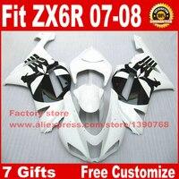 Najniższa cena naprawy ciała zestaw fairing dla Kawasaki Ninja ZX-6R 636 2007 2008 biały czarny plastikowe fairings zestaw ZX6R 07 08 MS1
