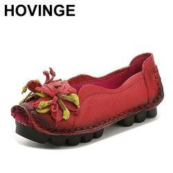 Hovinge mocassins confortáveis mulheres de couro genuíno sapatos planos mulher casual enfermeira trabalho sapatos femininos apartamentos
