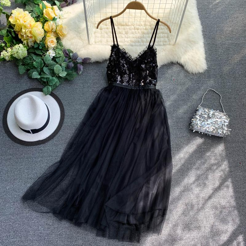 V-Neck Sequins Backless Sleeveless A-line Dress 16