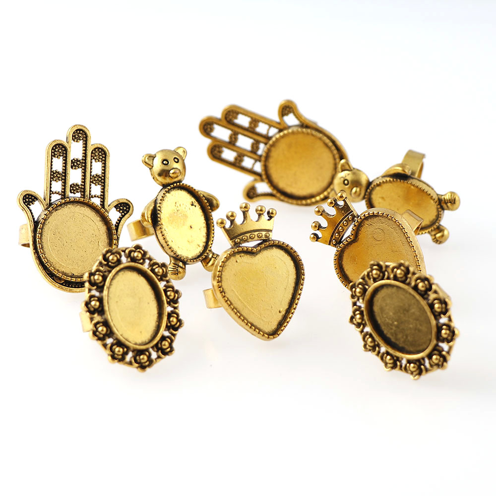 a4bce1b30 4Style Antique Gold Plated Adjustable Brass Oval Adjustable Ring Settings  Blank/Base Fit 18/20/13x18mm Glass Cabochons