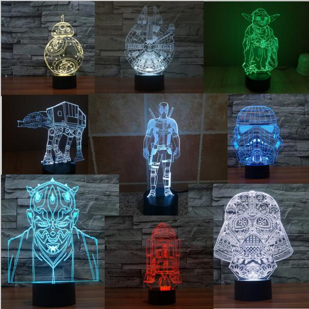 Star Wars 3D Night Action Figure Toy Lamp R2D2 BB8 Droid Millennium Falcon Death Star Scale Model Kit Bedroom Light Decoration  star wars bb8 droid 3d bulbing light toys new 7 color changing visual illusion led decor lamp darth vader millennium falcon toy