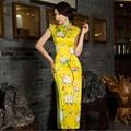 Chinese Women's Satin Cheongsam Long Qipao Velvet Silk  Dress S M L XL XXL China Oriental Dresses Traditional Chinese Cheongsams