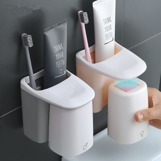 1 Set Magnetico set da bagno della Tazza di Aspirazione Spazzolino Da Denti Hold