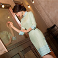 Vintage Noble Lady Chinese Traditional Style Cheongsam Blend Linen Solid Color Cotton Short Qipao Dress China Dress Clothes