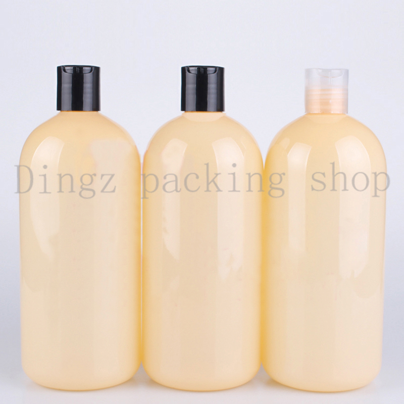 24pcs 500ml Recycling Cosmetic bottles with Chiaki cap Shampoo cream refillable easy use makeup Yellow empty