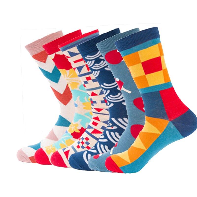 2018 Brand Combed Cotton Men Socks Funny Happy Socks Harajuku Designer Fashion Art Colour Long Socks Business Dress Sock For Men
