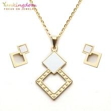 Yunkingdom geometric dubai jewelry sets pendant necklace stud earrings for women stainless steel new UE0266