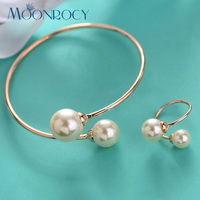 Italina Rigant Free Shipping Bracelet And Ring Set 18K White Gold Plated Imitation Pearl Crystal Jewelry
