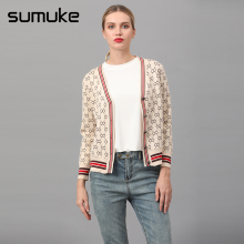 Sumuke Preppy Style V-neck Cardigan Long Sleeve Strips Cardigan Autumn Winter Cardigans Winter Jumper Elegant Women Clothes 2018(China)