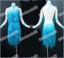 Latin dance/Waltz Tango New Competition salsa Latin dance dress Girls/Women Sequin cloth Dance/Perform Costume/Wear L-1076