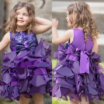New Puffy Baby Birthday Party Gowns with Sequins Ruffles Zipper Back Custom Made Flower Girl Dress For Special Occasion Vestidos