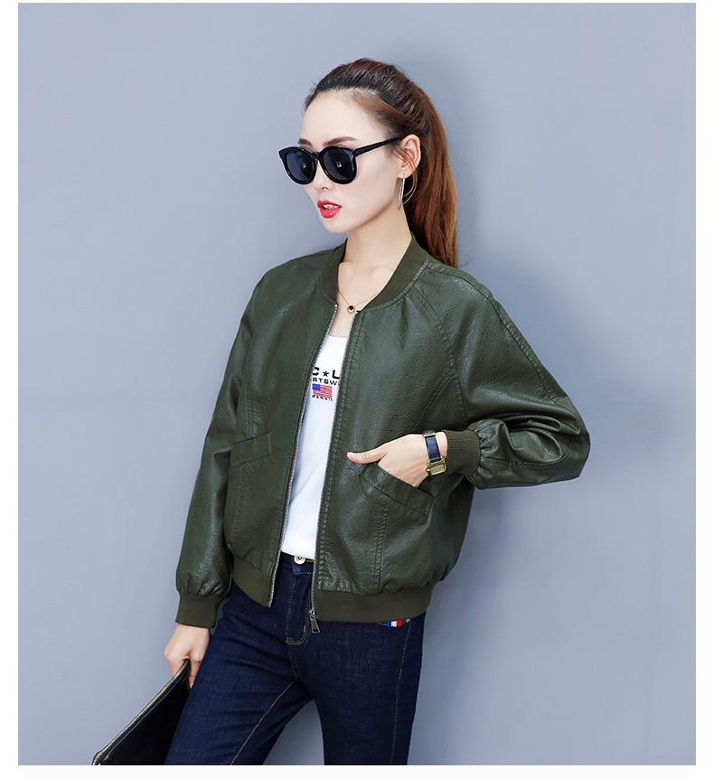 Women Pu Leather Jacket 2018 New Plus Size S-xl Women Jackets Solid Slim Pu Leather Short Jackets Coats Black, Military Green
