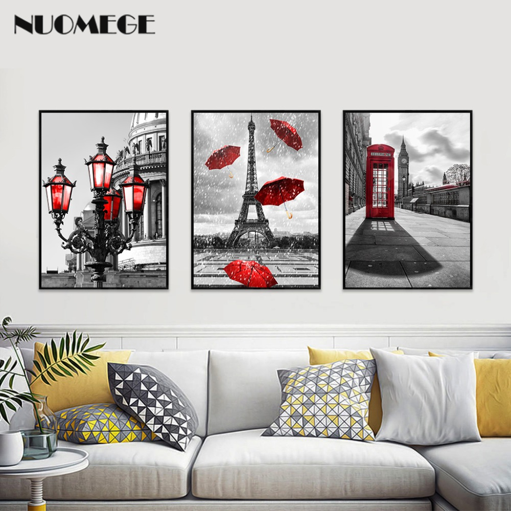 Black City Landscape Red Flower Tower Wall Art Canvas Painting Home Decor