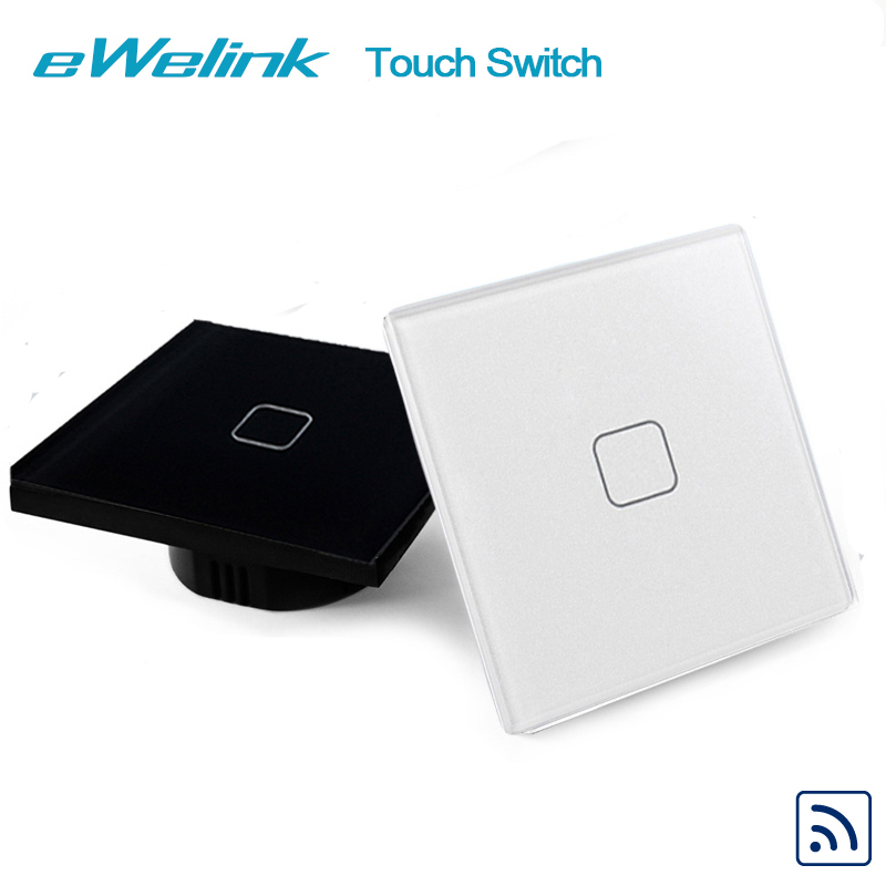 Crystal Glass Panel Wall Touch Switch, eWelink EU/UK Standard 1 Gang 1 Way RF433 Remote Control Light Switch For Smart Home elite kilter touch switch 1 gang 1 way eu uk standard crystal glass switch panel smart touch wall light switch ac 170v 240v