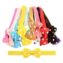 20Pcs Sweet Small Bow Elastic Hair Bands Kids Girl Toddler Bow Polka Dot Headband Hair Band Headwear Head Wrap Hair Accessories