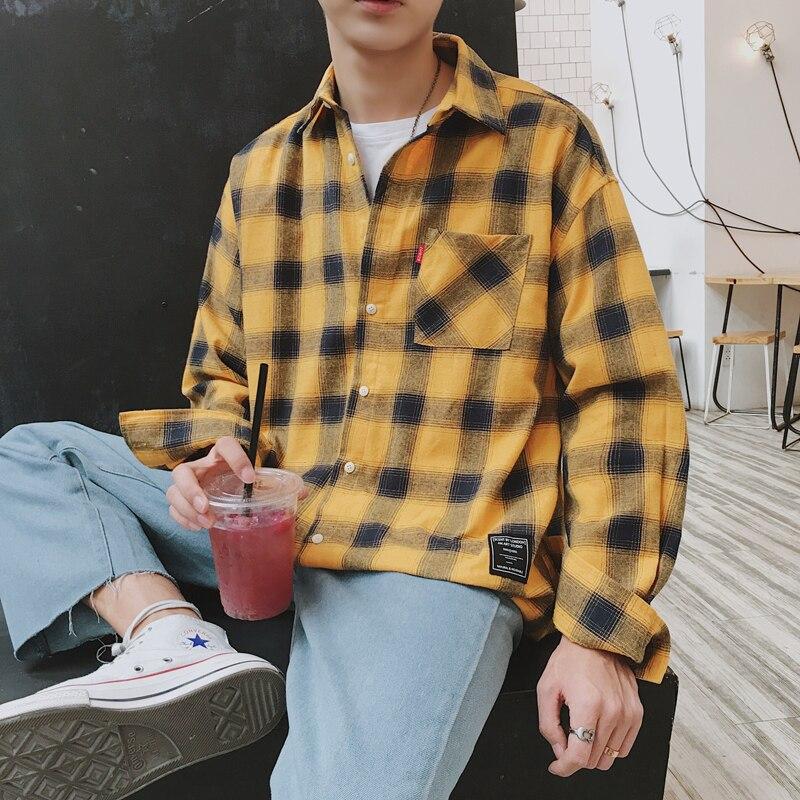 6a23f6fd47 Camisas de franela de manga larga para hombre 5xl camisa a cuadros de  búfalo amarillo 2019 moda Coreana de alta calidad hip hop ropa de calle CS08