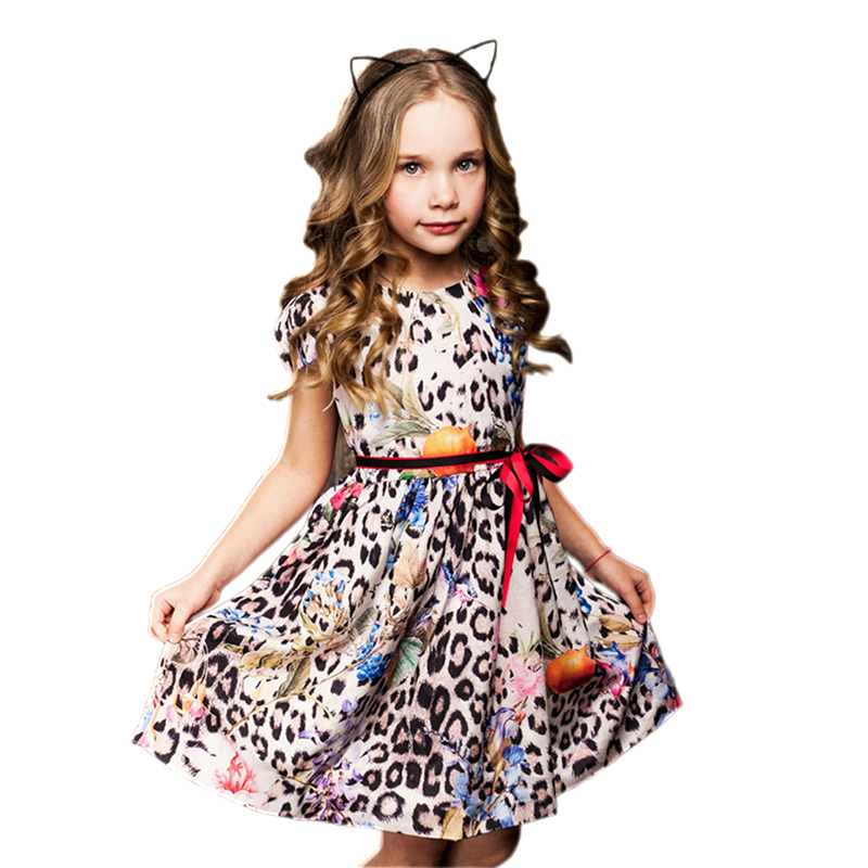 BRWCF Flower Girls Dress for Party and Wedding Birthday 2018 Summer Princess Dresses Leopard Printing Children Clothes 2-8 Years brwcf new 2018 autumn