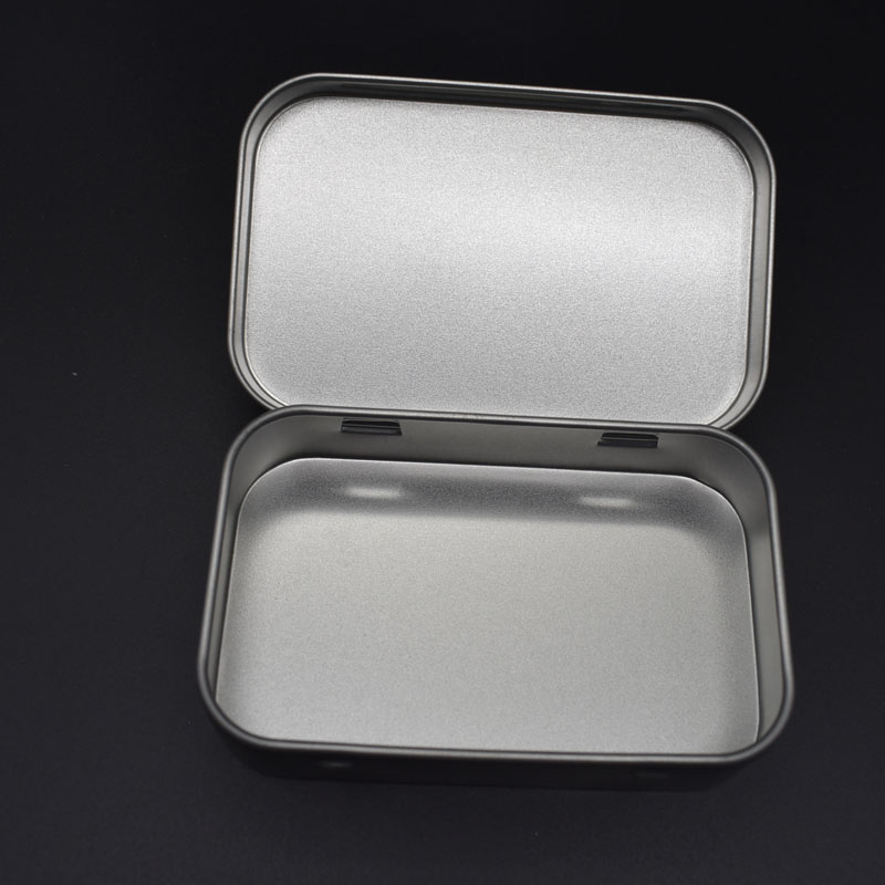 Storage Kit Tin Hinged Silver Small Empty Plain Metal Storage Bit Box Case Organizer For Money Coin Candy Keys