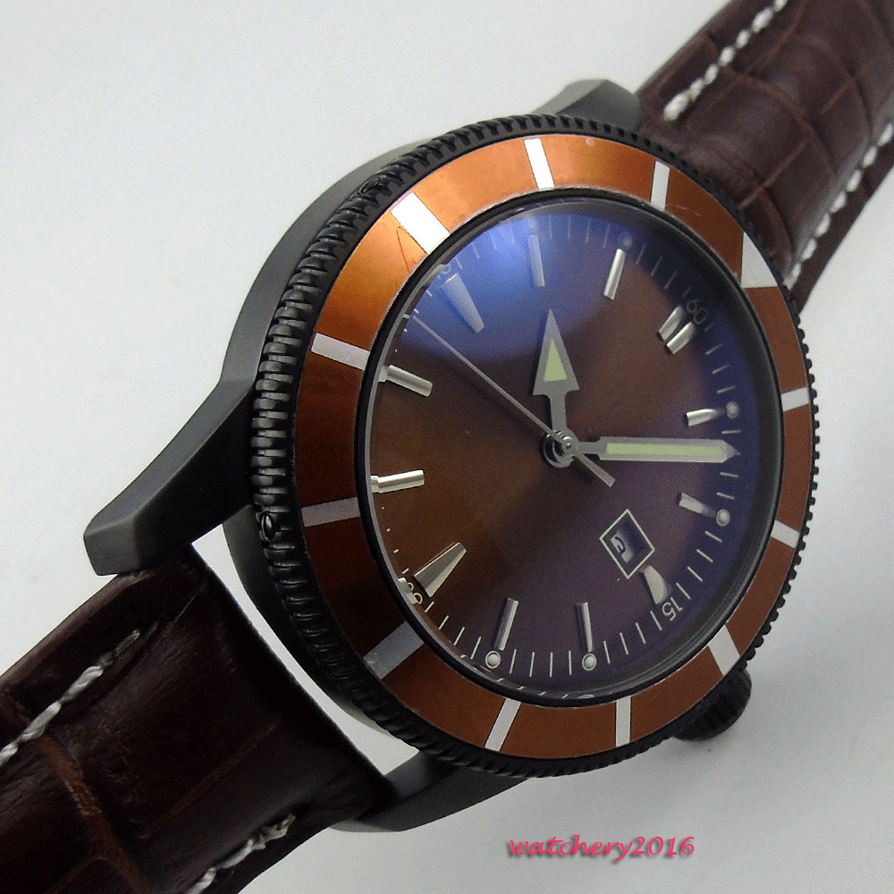 Здесь продается  New Arrival 46mm Bliger Brown Sterile dial pvd Luminous Hands Date Luxury Brand Leather strap Automatic mechanical Men