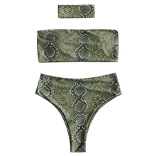 2018 Women Snakeskin Print Bandeau Bikini with Choker Wire Free Padded Swimsuit Strapless High Waist Swimwear Women Swim Suit