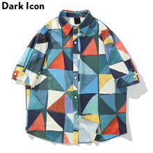 Dark Icon Geometric Full Printed Turn-down Collar Mens Shirt 2019 Summer Street Shirts Men Hawaii
