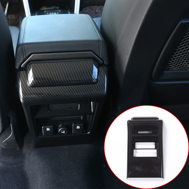 Carbon Fiber Style For Land Rover Discovery Sport 2015 2016 ABS Rear Seat Air Conditioning Vent Frame Cover Trim Car Accessories carbon fiber style abs plastic for land rover range rover evoque 12 17 center console gear panel decorative cover trim newest
