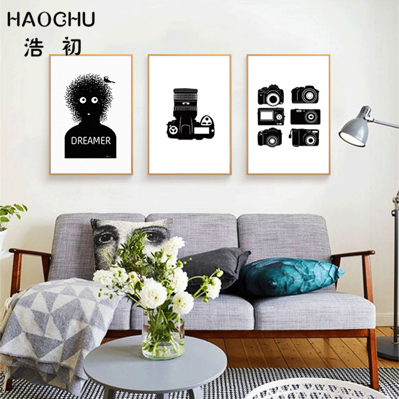 US $3.82 50% OFF|HAOCHU Vintage Retro Camera Print Canvas Painting Black  White Simple Fashion Hipster Wall Poster Cafe Office Art Picture Unframe-in  ...