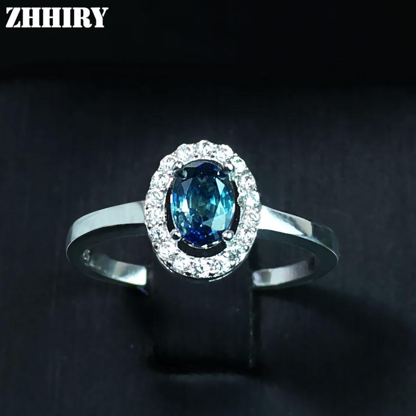 ZHHIRY Real Přírodní Sapphire 925 Sterling Silver Prsteny Fire Gem Stone Deep Tmavě Modrá Precious Pro ženy Jemné šperky  t
