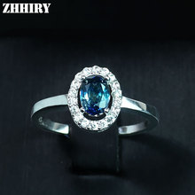 ZHHIRY Real Natural Sapphire 925 Sterling Silver Rings Fire Gem Stone Deep Dark Blue Precious For Women Fine Jewelry